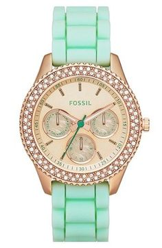 Fossil 'Stella' Crystal Bezel Multifunction Silicone ... | Fashionista #watch