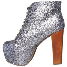 Pre-owned Jeffrey Campbell Limited Edition Lita In - Size 7.0 Pewter... ($125) ❤ liked on Polyvore featuring shoes, pewter glitter, jeffrey campbell footwear, jeffrey campbell shoes, sparkly shoes, glitter shoes and pre owned shoes