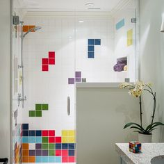 Fun bathroom design by #Brownhousedesign. Our Kiln American made ceramic tile…