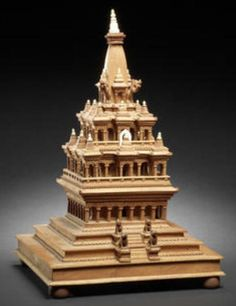 A carved sandalwood and bone model of a Krishna Temple