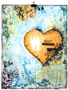 awesome yellow heart....Donna Downey mixed media
