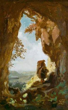 Carl Spitzweg - Gnom, von einer Höhle die erste Eisenbahn betrachtend
