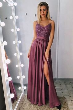 Classic A-line spaghetti straps split prom dresses long with lace bodice € - SchickeAbendKleider.de - Classic A-line spaghetti straps split prom dresses long with lace bodice - Split Prom Dresses, Cheap Prom Dresses, Prom Party Dresses, Occasion Dresses, Sexy Dresses, Evening Dresses, Dress Prom, Elegant Dresses, Long Dresses