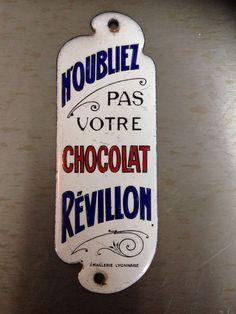 Chocolat Réveillon plaque de propreté emaillée ancienne