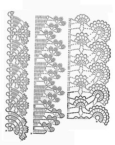 This is a gorgeous super-chunky knit stitch crochet scarf. This pattern essentially utilizes the double crochet or double crochet (if you are in the UK) stitches in crochet that will give the chunky feel of the finished product. Crochet Edging Patterns, Crochet Lace Edging, Crochet Borders, Crochet Diagram, Crochet Chart, Lace Patterns, Irish Crochet, Crochet Designs, Crochet Doilies