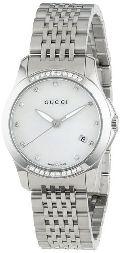 Gucci Watch , Gucci Women's YA126510 G-Timeless Diamond MOP White Dial Watch