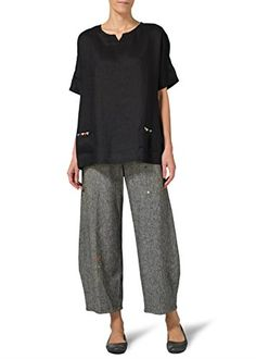 Vivid Linen Sweetheart Neckline Tunics-XL-Black Vivid Linen