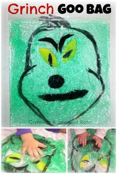 Grinch Goo Bag!  Squeeze- giggle- create silly Grinch faces!  A fun and frugal DIY toy!