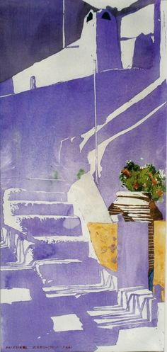 """stairs up volcano lip hillside santorini  18"""" x 8.5""""   micheal zarowsky / watercolour on arches paper / private collection"""