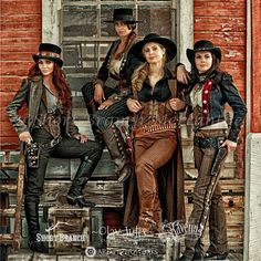 ~ Bobbi Jeen Olson, Tressie Childs, Erin Alexander & Jenna Miller all clad in corsets with their guns nearby. ~