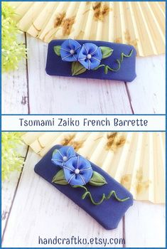 Blue morning glory hair clip, French barrette clip, Floral barrette, Kanzashi Inspired Flower, Floral Hair Accessory, Gift for her  #kanzashi #kanzashiflower #tsumamizaiku #frenchbarrette #hairclip #hairaccessories #handmade #etsy #giftsforher
