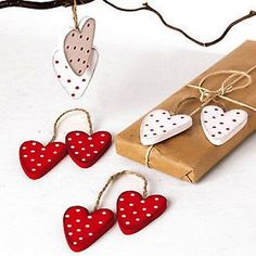 Scandinavian-Swedish-Danish-Norwegian-Christmas-Ornaments-Bag-of-8-Hearts-7248