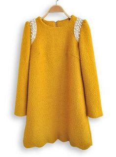 Yellow Long Sleeve Zipper Lace Beaded Dress