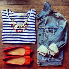 Navy/White Stripes, denim jacket & Red flats. #outfitinspiration