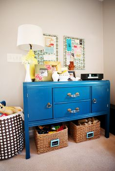 bright blue dresser! we have an old one that i think i'm going to paint like this and make a dresser/changing table.