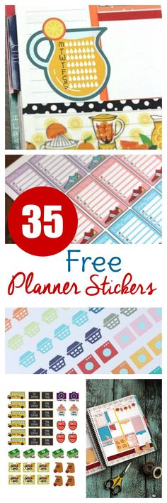 Check out these 35 different sets of free planner stickers to print! Perfect to print and cut or use with machine for your ECLP, Happy Planner, and more!