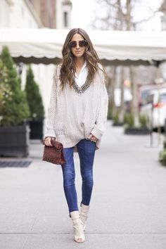 Jeans: J BRAND (LOVE this color too)   Shoes: Christian Louboutin (Black is chic too!)   Sweater: DAY (N/A), similar, similar   Button Down: Equipment   Sunnies: MIU MIU   Bag: Marie Turnor