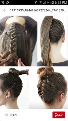 Braided bun or you could just do the pony tail