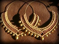 Tribal Macrame Jewelry / Hoop Earrings / Macrame Earrings / Brass Beads via Etsy