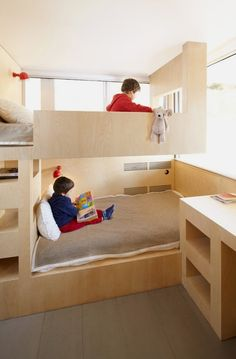 It is interior of a ski resort apartment in Menuires, France.but accully great idea for a small children's room. Design desk next to bed