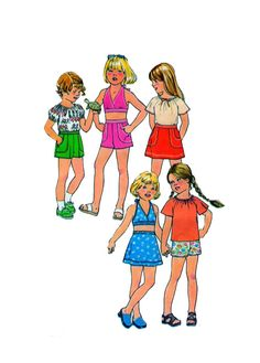 Simplicity 8040 Size 6 Girls Halter Top, Peasant Blouse, Pull On Shorts and Mini Skirt Vintage 70s Childrens Sewing Pattern by FindCraftyPatterns on Etsy