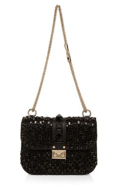 Valentino Embroidered Lock Shoulder Bag
