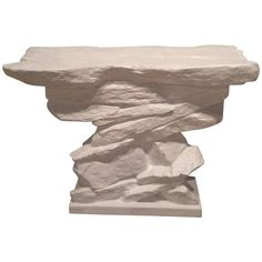 Vintage Sirmos Stacked Rock Stone Console Table Mid-Century Modern Quarry   From a unique collection of antique and modern console tables at https://www.1stdibs.com/furniture/tables/console-tables/