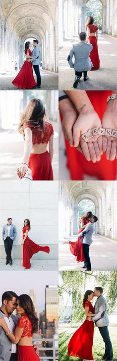 Elegant, European-Inspired Engagement Picture ideas with a striking two piece red dress at The Cloisters, Upper Manhattan, New York. Follow Me! Get inspired: http://www.confettidaydreams.com/cloisters-manhattan-engagement-pictures/ by @foreverphotony via @confettidaydreams