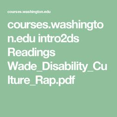 Chapter - Wade - Disability culture rap