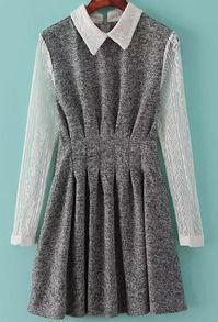 Grey Contrast Lace Long Sleeve Pleated Dress US$25.00