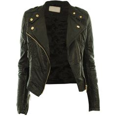 Gracious Girl Women's Diana Faux Leather Biker Crop Jacket at Amazon... (84 CAD) ❤ liked on Polyvore