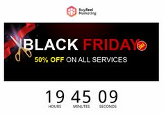 BuyRealMarketing Has Officially Started the BIGGEST SALE of the YEAR!! In the spirit of giving, we bring you 50% OFF discount on all services. Fb Like, Twitter Followers, Black Friday, Spirit, Marketing, Youtube, Stuff To Buy