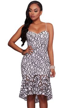 15d9958e6982 White Black Embroidery Lace Mermaid Midi Party Dress - Women's Online Store
