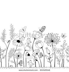 Floral seamless pattern with bird and butterflies for your d .- Floral seamless pattern with bird and butterflies for your design Seamless floral pattern with birds and butterflies – vector graphic - Art Floral, Floral Doodle, Floral Drawing, Motif Floral, Doodle Drawings, Doodle Art, Flower Drawings, Zen Doodle, Flower Doodles