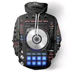 Vinyl DJ Music Studio All Over Print Pullover Hoodies Hip Hop Jumper Casual Hipster Sportswear Men Women Rave Outfits Men, Hip Hop, Buy Vinyl, Tracksuit Jacket, Dj Music, Cool Hoodies, Athletic Outfits, Rock, Pullover