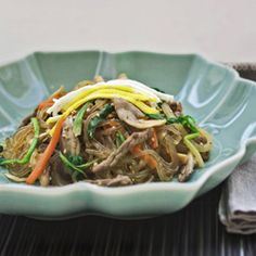 Japchae, the Korean sweet potato noodles    A little salty for my tastes, probably will use a little less soy sauce next time. Otherwise delicious & Sunghoon said tastes very authentic!