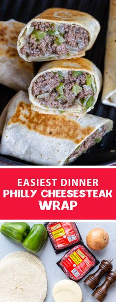 A Philly cheesesteak wrap makes the easiest dinner. These wraps are easy to make and taste delicious they are perfect for the whole family. The filling for this wrap is made all in one-pan making the perfect weeknight dinner. #phillycheesesteakwrap #wrap Dinner Recipes Easy Quick, Quick Easy Meals, Brunch Recipes, Great Recipes, Breakfast Recipes, Recipes Dinner, Dessert Recipes, Steak Wraps, Beef Recipes
