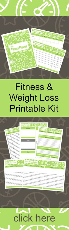 Fitness and Weight Loss Printable Kit - Everything you need to track your fitness and weight loss. #printables #weightlossplanniing #planningkit