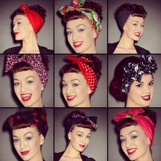 Love love love these Be Bop a Hairbands style wire hair bands! Bandana Hairstyles, Retro Hairstyles, Bad Hair, Hair Day, Rockabilly Hair Tutorials, Deadly Females, Vintage Hairstyles Tutorial, Hair Fixing, Pin Up Hair
