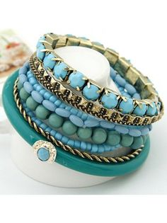 Bohemian Style Multilayer Blue Beads Bangle Bracelet