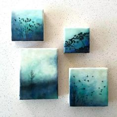 """""""Of flora and fauna"""" series and (the tree) """"Blue solitude"""" Encaustic artwork by . """"Of flora and fauna"""" series and (the tree) """"Blue solitude"""" Encaustic artwork by Alanna Spar Small Canvas Paintings, Small Canvas Art, Mini Canvas Art, Small Art, Art Paintings, Artist Canvas, Mini Toile, Wax Art, Canvas Painting Tutorials"""