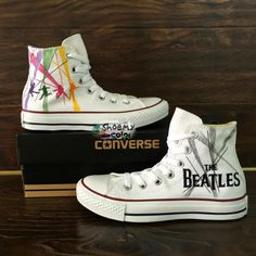 06d7665b30e4f5 Men Women the Beatles Converse All Star Hand Painted Canvas Sneakers