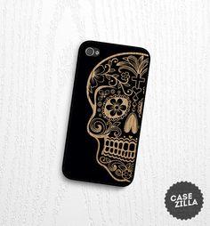 iPhone 5 Case Sugar Skull Wood Print iPhone 5S Case by CaseZilla, $12.99