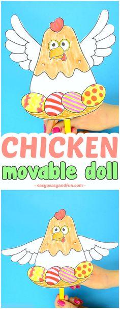 Movable Chicken Paper Doll Fun Easter Craft for Kids #craftsforkids #activitiesforkids #eastercrafts
