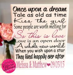 Disney Love Story Art Print Song Quote by OliviaQuinnCouture