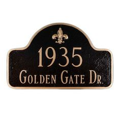Montague Metal Products Fleur de Lis Two Line Arch Large Address Plaque Finish: Brick Red / Gold, Mounting: Lawn