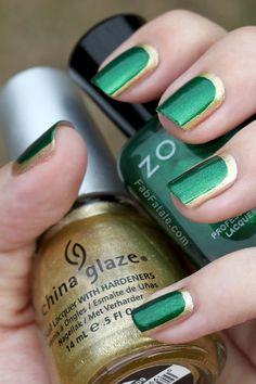 emerald and gold nails