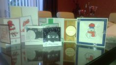Results of my hard work at the all day Crafty Ladies card class