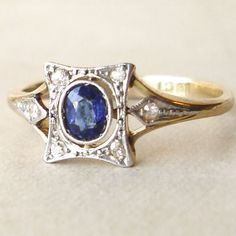 Antique Engagement Ring, Edwardian Sapphire Ring, 18k Gold Sapphire and Diamond Ring, Approximate Size US 7.25 via Etsy
