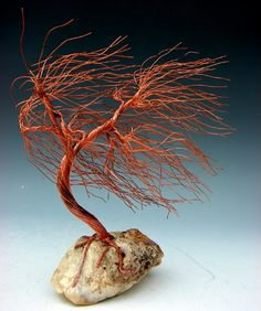 One  Of A Kind Windswept Copper Wire Tree Art by WireTreeSculpture, $54.00
